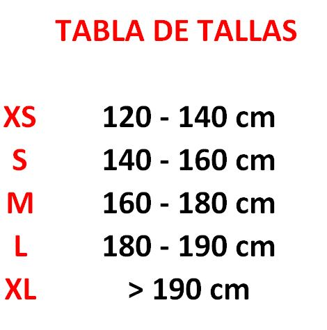 tabla de tallas petos fuji